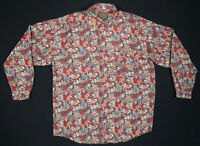 NWOT Vintage 80s 90s Silk Abstract Geometric Mens Long Sleeve Button Up Shirt L