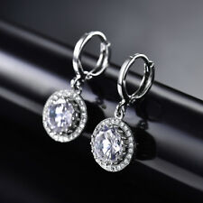 HUCHE Retro Round Diamond Dangle Sapphire White Gold Filled Women Party Earrings