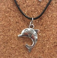 Silver Plated Detailed Large Patterned Dolphin Pendant Choker Chocker Necklace