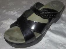 DANSKO Womens BLACK PATENT LEATHER Strappy MULES Sandals Shoes Slides Clogs 36 6