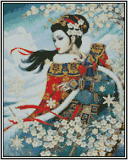 Oriental Beauty Counted Cross Stitch COMPLETE KIT #25-124
