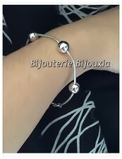 Bracelet Maille serpent & boules Argent Massif 925/000 Rhodié  Bijoux Femme