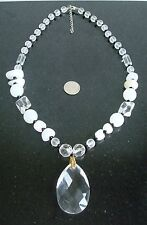 Lamp work art faceted glass necklace crystal frosted glass baroques 20 in nek007