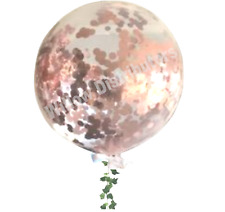 GIANT 60cm CONFETTI BALLOON CLEAR Metallic Rose Gold - ROUND Shape