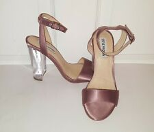 Steve Madden Charity Mauve Satin Ankle Strap Clear Block Heel Sandals Size 7
