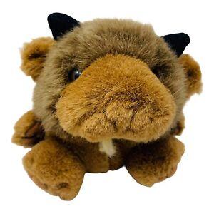 """Swibco Puffkins Plush Biff the Buffalo Mini Stuffed Animal Toy 4"""" Tall"""
