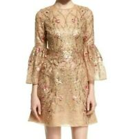 $3,180 MARCHESA Floral Embroidered Gold Lace Sequin Cocktail Dress IT 42 / US 6