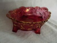 "Carnival Glass Small Oval Pink Red Bowl with Gilded Detail 5"" (12 cm)"
