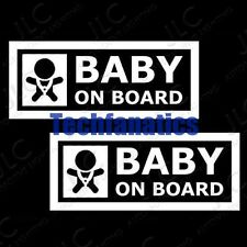2Pcs JDM Euro Cute Baby On Board Car Window Vinyl Decals Stickers Signs White