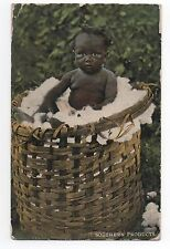 Carte postale. Afro americain. Negro. Bébé noir dans un panier de linge. 1911