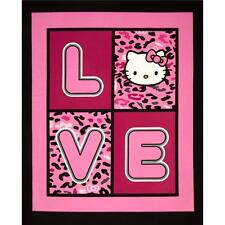 "New Hello Kitty Cheetah Love 100% cotton 43"" Fabric by the panel"