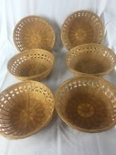 """Vintage lot of 6 Wicker Bamboo  Baskets Bowls   7"""""""