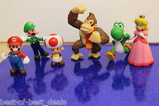 6 pc Super Mario Bros Mario Luigi Princess Peach Yoshi Toad Donkey Kong Figures