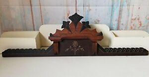 Antique Eastlake Hand Carved Furniture Pediment Victorian Ebonized Wood Salvaged