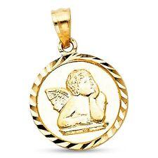 Ángel Moneda Colgante 14k oro amarillo sólido Redondo Medallón CRISTIANO Diseño