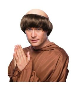 Friar Tuck Monk Wig Brown Bald Spot Balding Priest Medieval Adult Halloween New