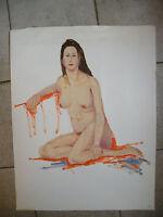 Huile sur Papier Femme Nue à genoux André Simon 1926-2014 1993 Artiste Lorrain