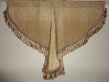 CHRIS MADDEN GOLD TEXTURED STRIPE (1) WATERFALL SWAG VALANCE  42 X 24 FRINGE