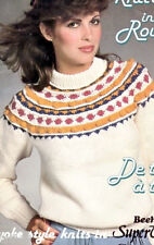 Knitting PATTERNS Sweaters Men Women Childrens Circular Knit FairIsle Yoke