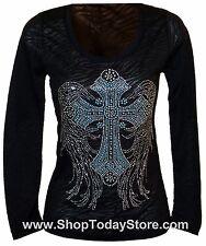 Shirt XL  Women Woman Lady Motorcycle Biker Western Cowgirl Long Sleeve Burn Out