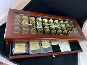 Danbury Mint Super Bowl Flip Coin Collection in solid wood display case