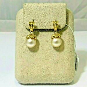 South Sea Cream Pearls and Diamond Dangle Earrings, 18 Karat Yellow Gold, New