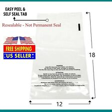 100 500 1000 12x18 Suffocation Warning Clear Plastic Self Seal Poly Bags 1.5 Mil