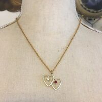 Vintage gold heart pendant on chain necklace