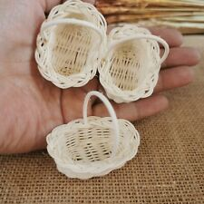 3 White Picnic Wicker Rattan Oval Baskets With Handle Dollhouse Miniature Supply