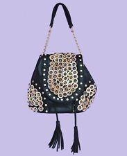 NWT Faux Leather Black Small Shoulder Glittery Handbag Purse Tote Shiny Satchel