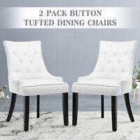 Set of 2 Elegant Tufted Design Fabric Dining Chairs Upholstered Wood Legs White