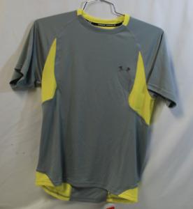 Under Armour Heat Gear Running Mens Short Sleeve Top T-Shirt Small SM Gray NEW