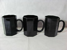 Arcoroc France Black Octime Set of 3 Coffee Cups