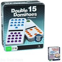 Double 15 Color Dot Dominoes Cardinal Industries Collectors Tin 136 Jumbo Size