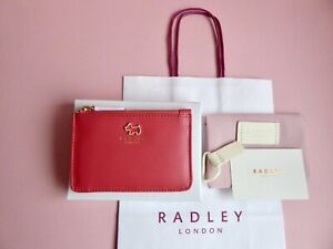 Radley Gift Boxed Haywood Coral Leather Coin Purse - Credit Card Holder BNWT