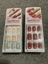 imPRESS NAILS Press-On One-Step Gel  2 NEW Packages RED & FRENCH NAIL
