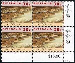 2017 30c Crocodile 11th Reprint 1994 Corner Value Block SG1361 MUH Mint Stamp #2