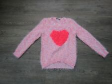 **AGE 10-11 GIRLS LOVELY PINK NEON JUMPER, RUFFLE LOVE HEART ON, FLUFFY (D)**