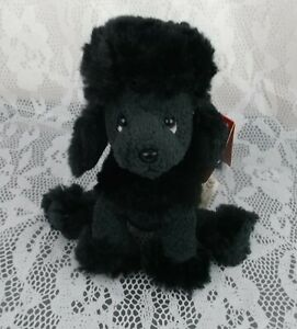 """Russ Luv Pets FRENCHIE Poodle Puppy Dog Black Small Little 5"""" Plush Stuffed Toy"""