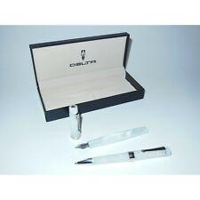 New/OS* Delta Vintage Fountain Pen/Ballpoint Set White/Platinum Steel M Nib