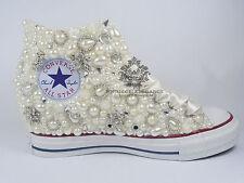 Lux Wedge Wedding pearl crystal bridal flat Customised Low High Top Converse