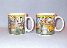 Sakura Debbie Mumm Garden Vignette 2 Mugs Cups 1999 Birdseed, Rabbit Hat