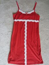 WOMENS RED MID CALF STRETCH FITTED WHITE RUFFLE HOLIDAYS NIGHTGOWN MEDIUM COMFY