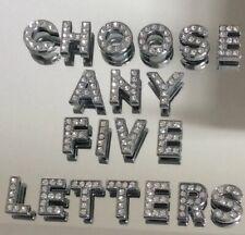 10mm Slide Charm Letter 5pcs  A-Z Rhinestone Silver  New U K Seller