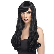 Womens Ragazze Nero DESIDERIO Parrucca Lunga Ondulata Halloween Katy Perry tintura dei capelli WITCH