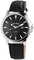 Alain Miller Herrenuhr Schwarz Analog Datum Kunst-Leder Armbanduhr X2900136001