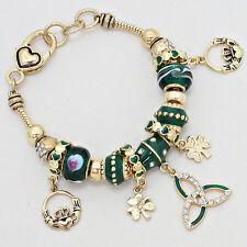 Claddagh Bracelet Charm Sliding Bead Clover Irish St Patricks GOLD GREEN Heart