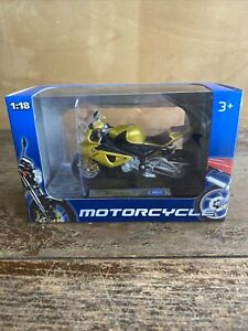 Model motorcycle diecast Welly BMW S 1000 RR Scale 1:18 Motor Bike gold yellow