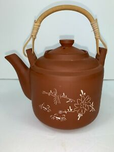 Red Clay Terra Cotta Pottery Teapot Bamboo Handle Etched White Flowers China