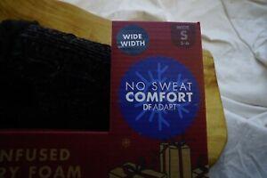 Dearfoams Women's Gel infused Memory Foam Slipper Scuffs NIB Black 5-6 WIDE